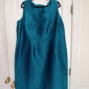Worthington Aqua 100% Silk, SleevelPlus Size Dress